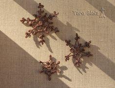 flocons de neige steampunk dentelle au crochet lamé cuivre décorations de noël, appliques, suspension, etc : Accessoires de maison par tara-bleiz