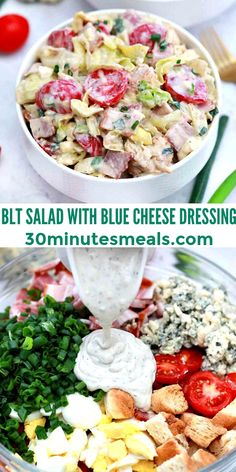 This BLT Salad recipe is fresh, crispy, and super delicious. #blt #bltsalad #saladrecipes #easyrecipes #30minutesmeals