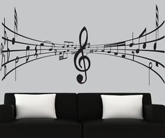 Modern vinyl wall decal music notes decal black silhouette decals music wall mural from couturedecals on Etsy. Music Wall, Art Music, Music Notes Art, Silhouette Painting, Black Silhouette, Music Bedroom, Chor, Modern Wall Art, Vinyl Wall Decals