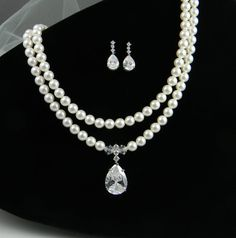 Bridal Pearl Jewelry SET, Necklace and Earrings, Cubic Zirconia Pendant and Swarovski Pearls