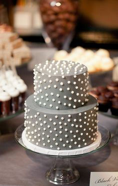 Pretty Two Tiered Grey Cake With White Dots