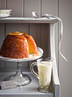 Steamed marmalade pudding with thick English custard