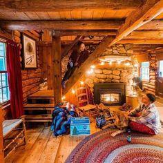Gorgeous 49 Beautiful Home Interior Cabin Style Design Ideas. Log Cabin Living, Log Cabin Homes, Log Cabins, Tiny House Cabin, Cozy House, Cabin In The Woods, A Frame Cabin, Little Cabin, Beautiful Houses Interior