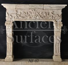 A very unique ancient reclaimed Italian Limestone fireplace mantel Stone Fireplace Mantles, Limestone Fireplace, Faux Fireplace, Fireplace Design, Stone Fireplaces, Fireplace Ideas, Outdoor Living Furniture, Rustic French, French Country