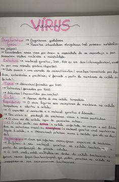 virus • biologia • resumo • enem School Motivation, Study Motivation, Mental Map, Science Notes, Study Organization, Study Techniques, School Study Tips, Study Planner, Study Journal