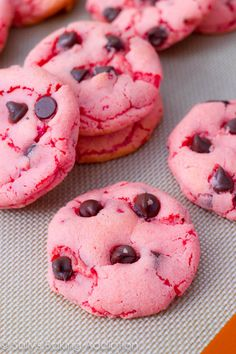 Strawberry Chocolate Chip Cookies! - Valentine's Day win!