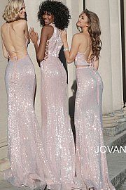 159cfb3b34 Jovani 66948 Pink Sequin Tie Up Open Back Fitted Long Prom Dress
