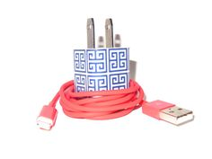 Blue Greek Key iPhone Charger and Red USB Cable  by PersonalPower, $20.00