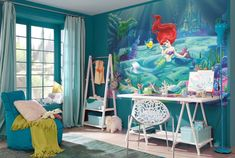 Wall Mural Wallpaper Ariel The Little Mermaid Disney + Free adhesive Ariel Wallpaper, Kids Wallpaper, Photo Wallpaper, Wallpaper Stickers, Wallpaper Murals, Disney Girls Room, Blue Nursery Girl, Disney Wall Murals, Mermaid Bedroom