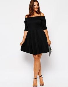 asos curve plus size off the shoulder black dress. so cute!