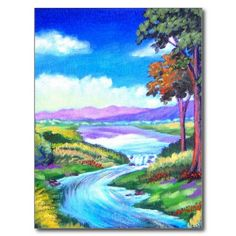 CUSTOMIZABLE!!! Landscape River Painting Art Postcards. Click this to get it http://www.zazzle.com/landscape_river_painting_art_multi_postcards-239187556995068779