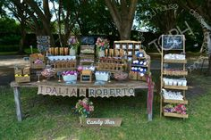 Rustic chic candy bar wedding / dazzling blue and radiant orchid