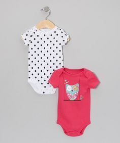 Take a look at this Baby Starters Pink Glitter Owl & Polka Dot Bodysuit Set - Infant on zulily today!
