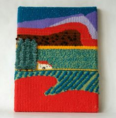 handmade tapestry a vertical loom by thecordeliasheep on Etsy Weaving Textiles, Weaving Art, Loom Weaving, Hand Weaving, Tapestry Loom, Small Tapestry, Textile Fiber Art, Weaving Projects, Tear