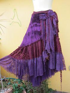 RESERVED..vintage inspired deep purple velvet gypsy wrap skirt/shawl.....51 across....medium to xxlarge..... $80.00, via Etsy.