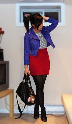 (H jacket, skirt, tights / ZARA top / UO purse / Aldo shoes / Ardene necklace)