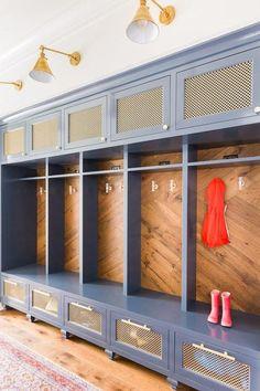 *mudroom Colorful mud room with built in storage, designed by Laura Burleson, via Home Staging, Mudroom Laundry Room, Mud Room Lockers, Wood Lockers, Mudroom Cubbies, Built In Storage, Barn Storage, Cubby Storage, Locker Storage