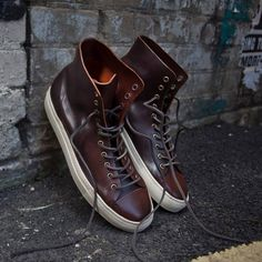 Fancy - Tanino Dark Brown Leather Mid Sneakers by Buttero Men S Shoes, Running Shoes For Men, Shoe Sites, Ankle Shoes, Everyday Shoes, Plimsolls, Dark Brown Leather, Kuala Lumpur, Types Of Shoes