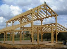 There are some types of roof that would create a traditional house style and a gambrel roof is one of them. A gambrel roof is a symmetrical two-sided roof that has two slopes on each side of the ro… Pole Barn House Plans, Barn Garage, Car Barn, Pole Barn Homes, Pole Barns, Casas Cordwood, Pole Barn Designs, Barn Kits, Barn Shop