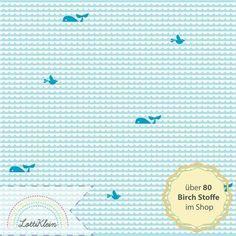 Birch Jersey Waves and Whales Bio Stoff Wal Wellen von LottiKlein auf DaWanda.com
