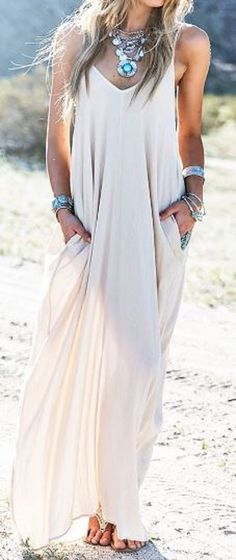 Boho Chic Looks I LOVE! Spaghetti Strap Solid Color Sleeveless Maxi Dress #Bohemian #Style #Maxi #Dress #Jewelry #Summer #Fashion #Accessories #Outfit #Ideas