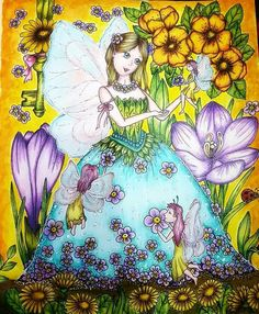 Fairy Miracles by Klara Markova Done w WnN watercolours and FC polychromos And white gel pen 💛 done it. Coloring Book Art, Colouring Pages, Adult Coloring Pages, Fairy Sketch, Markova, Coloring Tutorial, White Gel Pen, Gel Pens, Cute Drawings