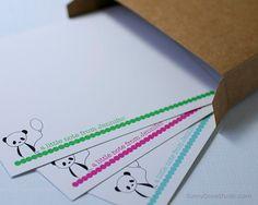 Panda Personalized Flat Note Cards Flat by SunnyDoveStudio #etsy #stationary #notecards #cards #cute #kawaii #pandas