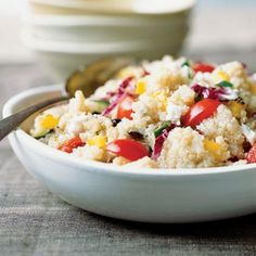"Colorful Quick Quinoa Grecian Salad | Finalist--Salads and Sides. ""I worked at a natural foods market and discovered all kinds of new grains. Since then, I have been experimenting in the kitchen and came up with this recipe during the peak of summer's harvest."" -Margee Berry, White Salmon, WA"