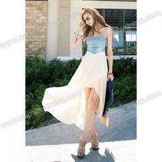 Slim Fit Irregular Hem Denim Splicing Chiffon Strapless Dress For Women (APRICOT,ONE SIZE) China Wholesale - Sammydress. from Picsity.com