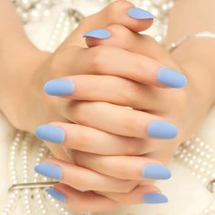 24pcs Matte Sky Blue False Nails Kit Lady Daily Wear Fake Nail Tips Round Top Medium with 1pc Glue Sticker