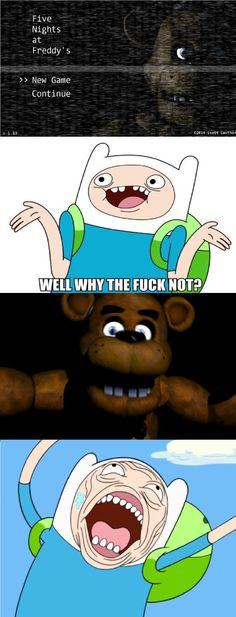 Finn jugando Five Nights at Freddy's jajajaja