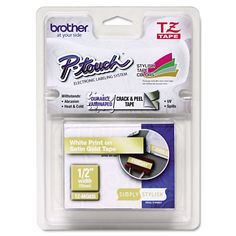 Brother P-Touch TZ Standard Adhesive d Labeling Tape 1/2-inch x 16.4 ft. /Satin Gold