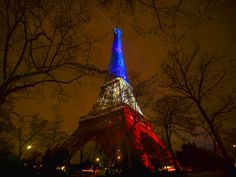The Eiffel Tower illuminated in the French colors in honor of the victims of the attacks on Friday in Paris, Monday, Nov. France is urging i Paris Shooting, Eiffel Tower Lights, France National, Pray For Paris, French Colors, Paris Attack, Paris City, Good Morning America, City Lights