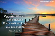 Opportunities are like sunrises. If you wait too long, you miss them. - William Arthur Ward #Quotes