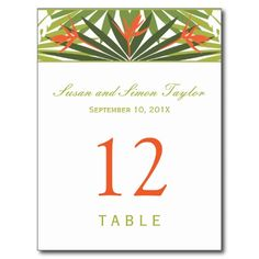 Tropical Floral Table Number Card | Green & Orange Postcard