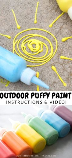 Puffy Sidewalk Paint Fun For Kids | Little Bins for Little Hands. HOW TO MAKE PUFFY SIDEWALK PAINT SIDEWALK PAINT DIY Get creative with homemade sidewalk paint the kids. The best recipe for outdoor puffy paint, your kids will love creating with this bright and colorful outdoor paint. Better than sidewalk chalk, you can create this paint at home! A fun kid activity for the spring and summer months.  #OutdoorPlay #KidActivity