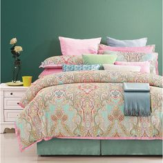hippie, boho, bohemian, bedding, bedroom, far east, mandala, elephant, medallion design, teen, college. EverRouge Palace 8-piece Cotton Comforter Set