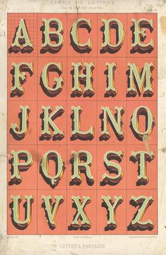 These vintage pages from the French book Album de Lettres are especially gorgeous examples of classic typography. Each page features a full alphabet, print Types Of Lettering, Lettering Styles, Lettering Design, Script Lettering, Block Lettering, Alphabet Design, Vintage Typography, Typography Letters, French Typography
