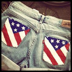 #DIY American flag jean shorts  Jeans Shorts #2dayslook #JeansShorts #sasssjane  www.2dayslook.com
