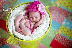 cute baby in a bucket, crochet hat