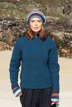 Malin and Wave patterncard knitwear designs by Alice Starmore in pure wool Hebridean 2 Ply and Bainin hand knitting yarn Hand Knitting Yarn, Knitting Books, Knitting Patterns, Sweater Patterns, Yarn Shop, Card Patterns, Wool Yarn, Knitwear, Alice