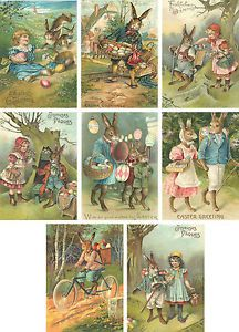Mouse over image to zoom Have one to sell? Sell now Vintage Easter 8 bunny rabbit antique pictures note cards tags scrapbooking - Buscar con Google