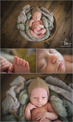 newborn baby features - rustic style newborn photography - brown and green