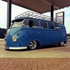 #Vw bus blue with roof rack slammed