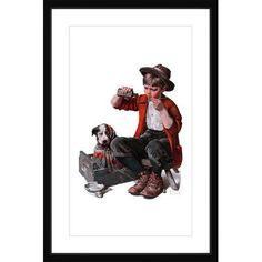 """Marmont HIll Sick Puppy by Norman Rockwell Framed Graphic Art Size: 24"""" H x 16"""" W"""