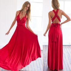 You need a long dresse when you go to a evening party or go your friend¡¯s wedding,this dress with a design of v-neck and back cross,which will make you look sexier and elegant,and add a uniquely femi
