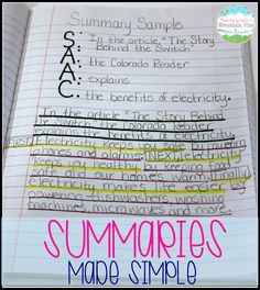 Writing Summaries Year after year my students struggled with summaries, and then I started using this method for teaching summary writing. I will never again teach this skill without this summary anchor chart. Summary Writing, Writing Strategies, Writing Lessons, Teaching Writing, Writing Activities, Essay Writing, Writing Curriculum, Reading Comprehension Strategies, Teaching Ideas