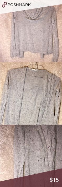 Long sleeve, hooded cardigan grey cardigan with a good.. specks of color.. probably worn once or twice.. sleeve are sorta tight.. nice for fall weather.. will negotiate price. cloudchaser Sweaters Cardigans