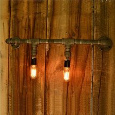 Water pipe wall lamp vintage nostalgia lamps project light ~ Industrial Home Decor ~ Olivia Decor - decor for your home and office. Wall Sconce Lighting, Candle Sconces, Wall Sconces, Sconces Living Room, Bedroom Lamps, Home Decor Lights, Industrial House, Industrial Pipe, Pipe Lamp