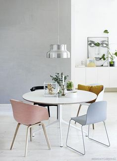 Dining - white - colour (grey, pale, pink, yellow, blue) - light - art - white floor - silver